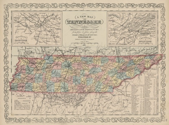 Map Of Tennessee With Its Roads Shades Of Gray And Blue - Map of tennesee