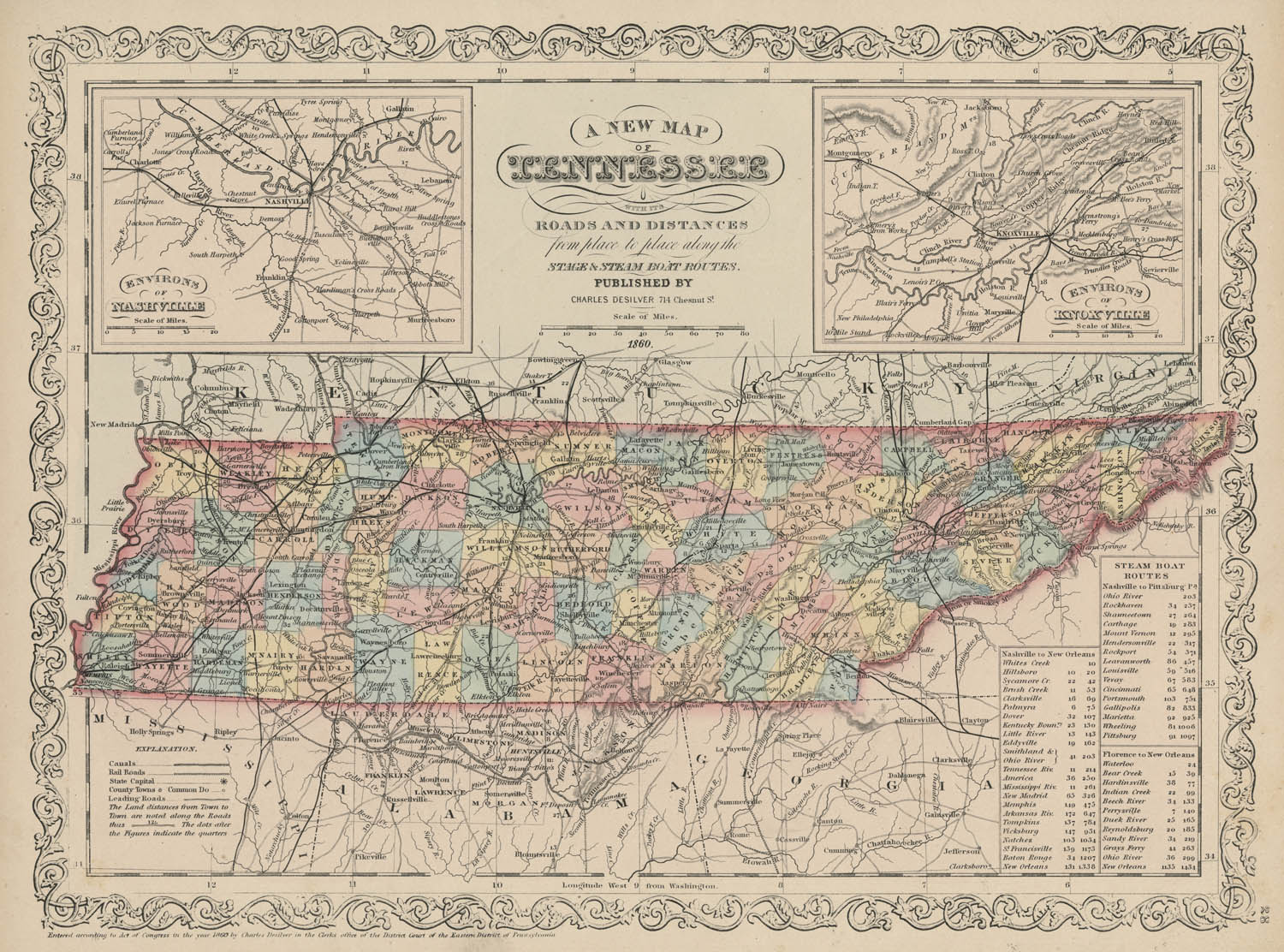 Map Of Tennessee With Its Roads Shades Of Gray And Blue - Map of tennessee