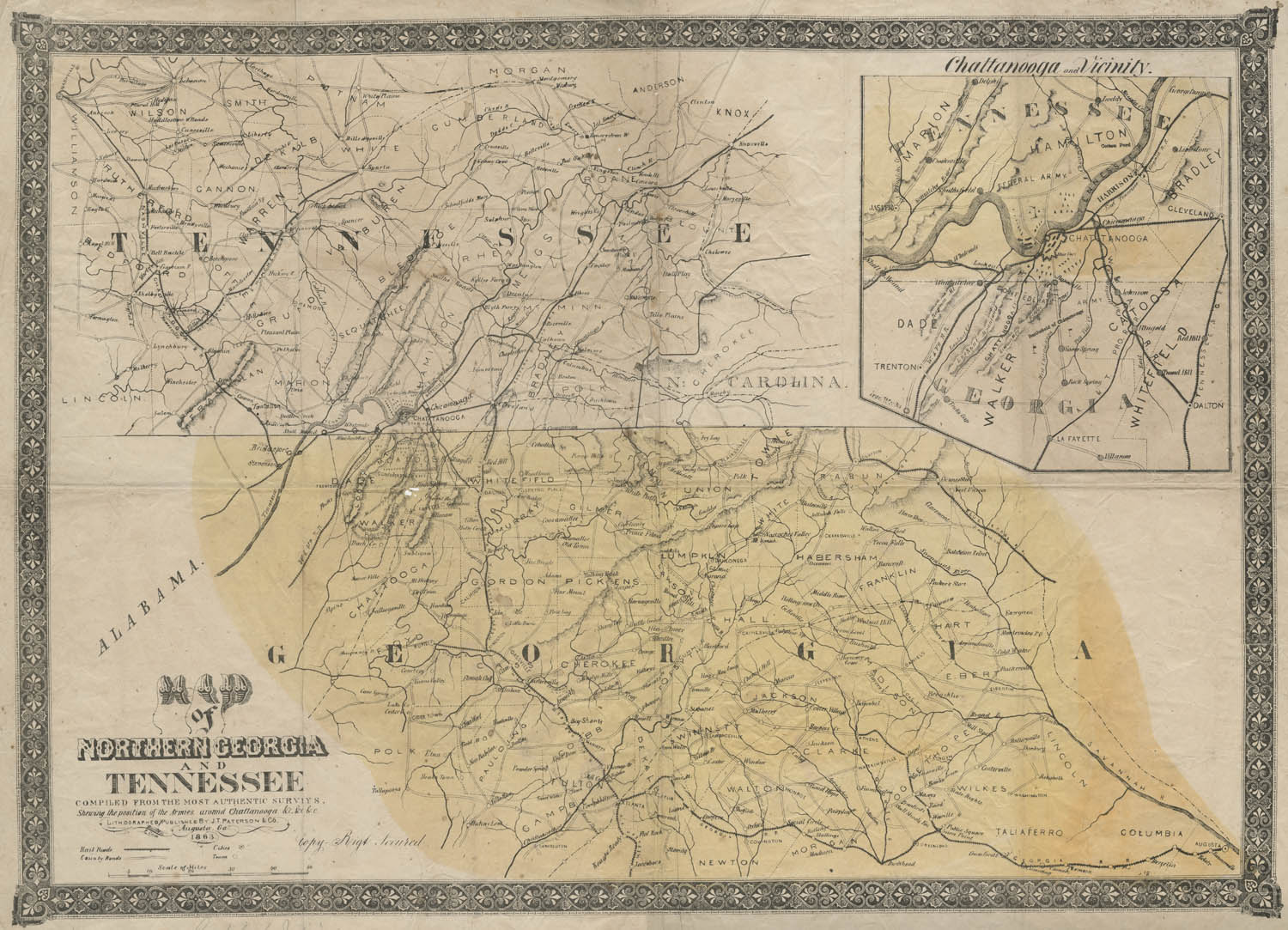 Map Of Northern Georgia And Tennessee  Shades Of Gray And